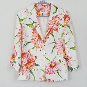 André Oliver Linen Blend Vtg Floral White Blazer 6